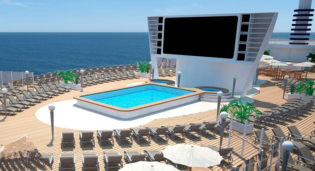 6 New Carnival Cruises Ships - MSC Seaview Pool Cinema