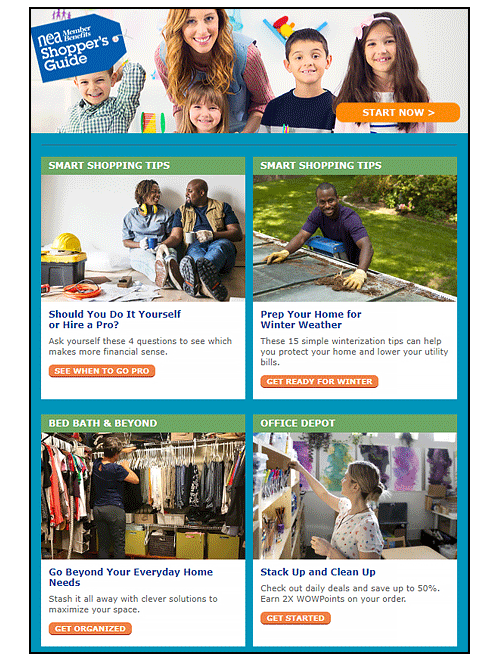 Sample of the NEA Members Shopper's Guide newsletter