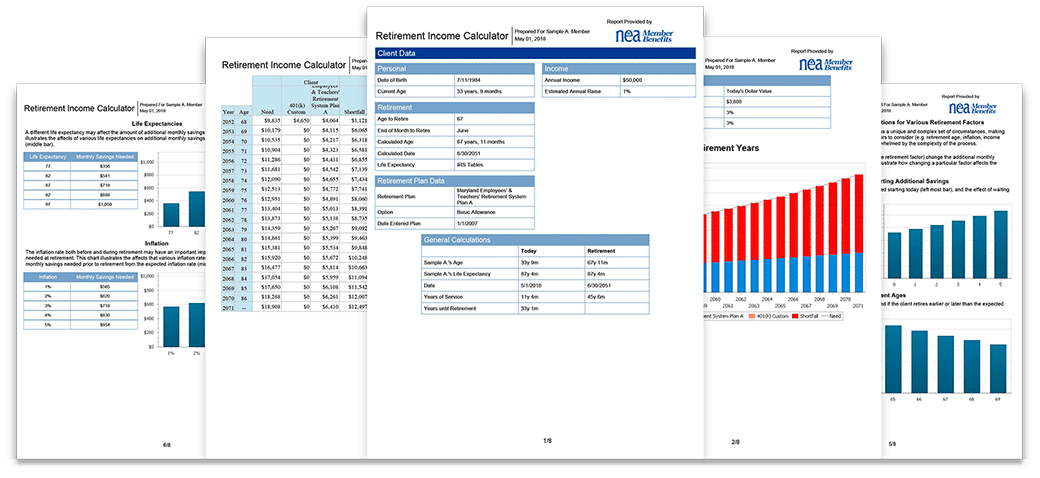 NEA Retirement Income Calculator showing customizes income projection charts, graphs and information