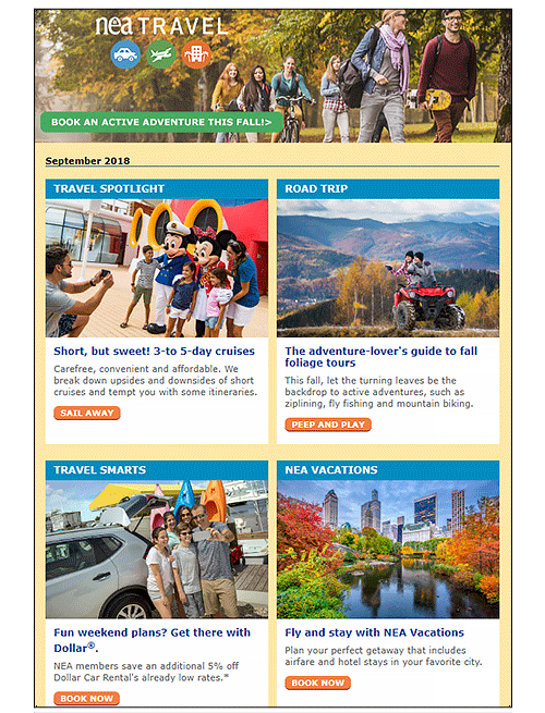 Sample of the NEA Travel newsletter