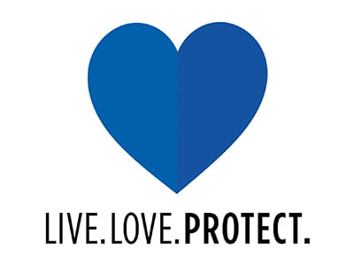 Live. Love. Protect. Sweepstakes - blue heart graphic