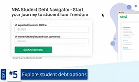 Image of the NEA Student Debt Navigator page where you can start your journey to student loan freedom on neamb.com