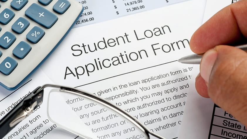 Close Up of Student Loan Application Form