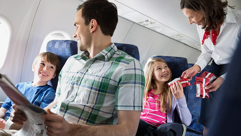 Family sitting on a plane