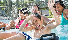 Group of children playing in a water park