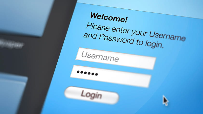 Close up view of a website login page on a computer screen