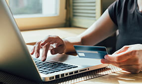 Close Up of Female Making an Online Purchase