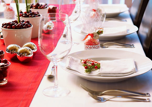 Close Up of Holiday Place Settings