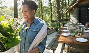 African American Woman Joyfully Receiving Flowers