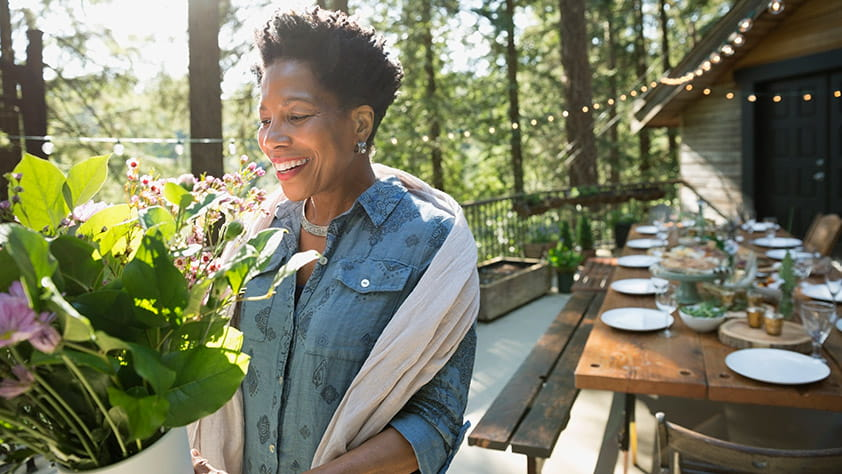 African American Woman Joyfully Receiving Flowers