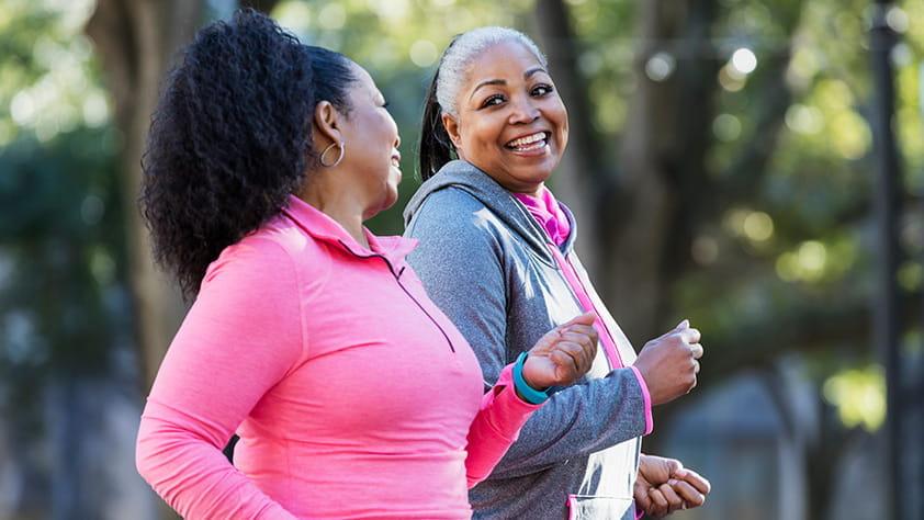 Female African American Seniors Exercising