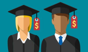 Illustration of two graduates with price tags hanging from their graduation caps