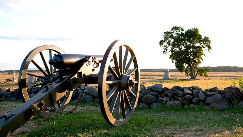 Cannon at 'The Angle', the site of Picket's Charge. Gettysburg National Military Park, Gettysburg, Pennsylvania