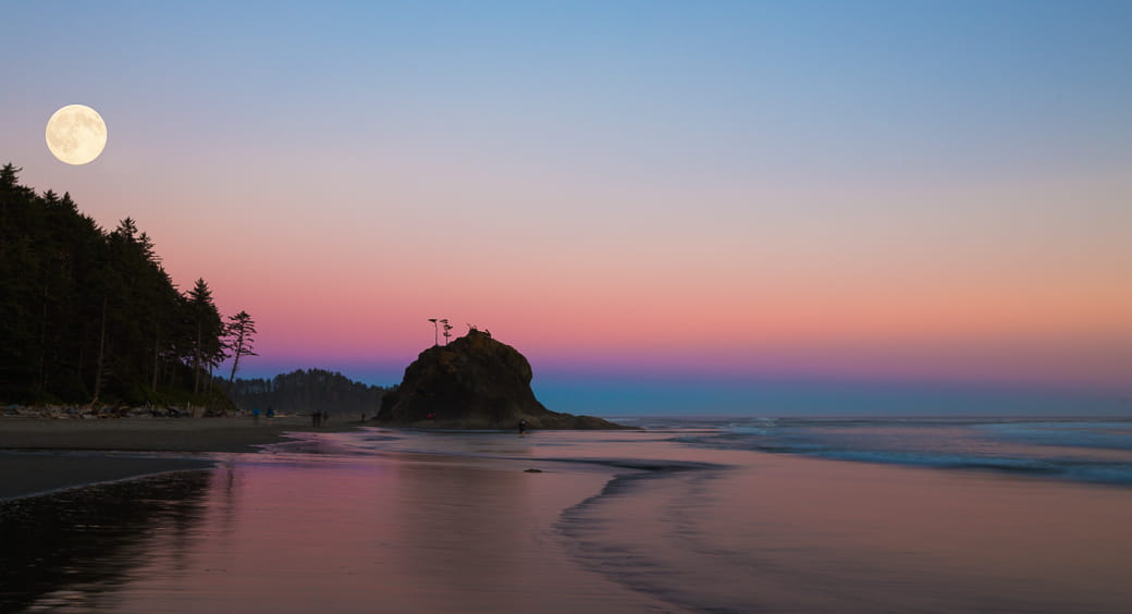 The moon over the ocean at sunset, Second Beach outside of La Push, Washington State