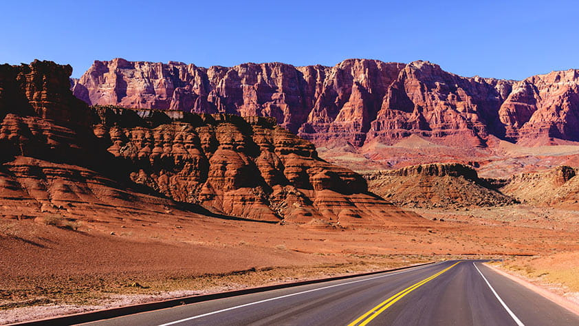 Highway through the Painted Desert in Arizona