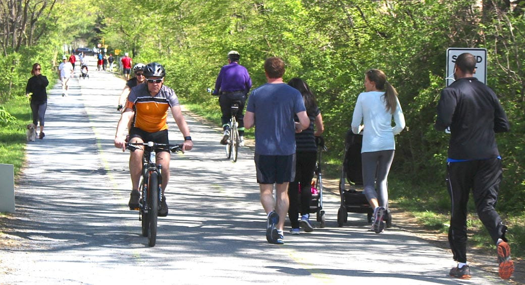 Bike riders and joggers on the Capital Crescent Trail in Washington, D.C.