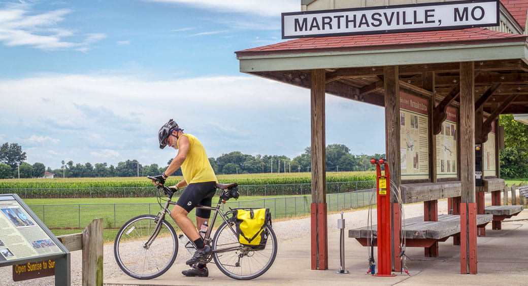 Man on his bike getting ready to ride in Katy Trail State Park in Missouri