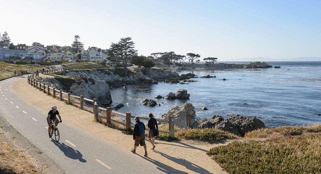 Bike riders and walkers on the Monterey Bay Coastal Recreation Trail in California