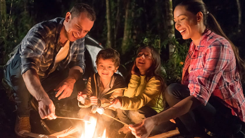 Happy family eating marshmallows by a bonfire
