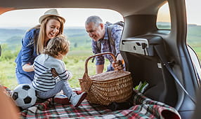 Couple and Young Child in the Back of a Car With a Picnic Basket