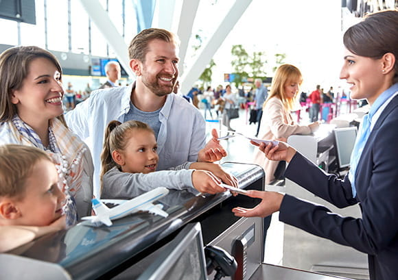 Family at Airport Checkout