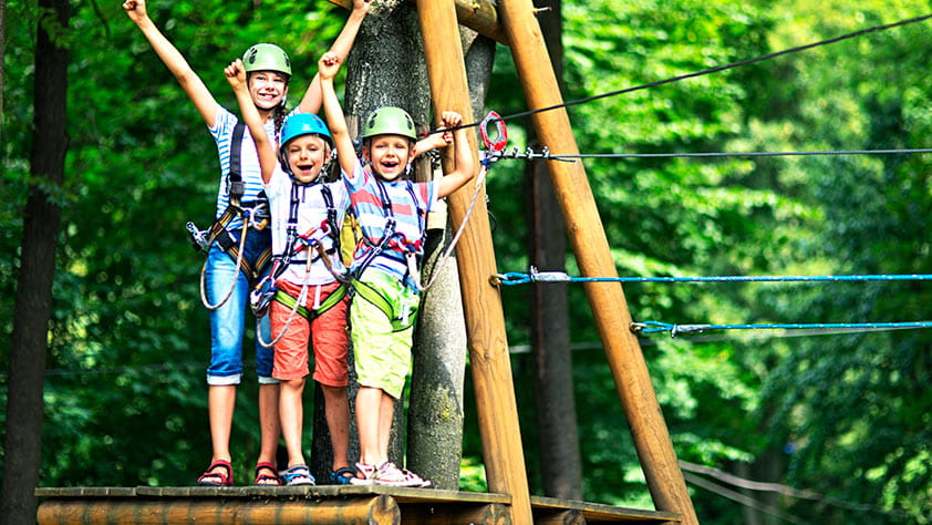 Cheering children having fun on a ropes course at an adventure park