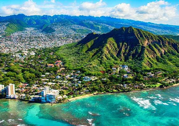 Aerial Shot of Diamond Head State Park, Honolulu, Hawaii