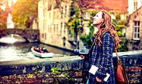 Woman on Bridge in Amsterdam