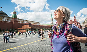 Senior Woman Enjoying the Red Square in Moscow, Russia