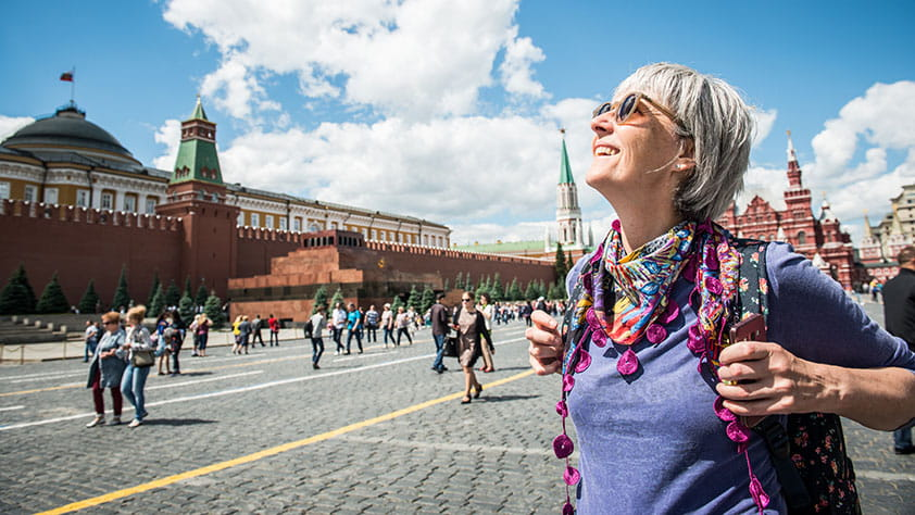 Saving Strategies for Senior Travel Discounts - Woman Enjoying the Red Square in Moscow, Russia