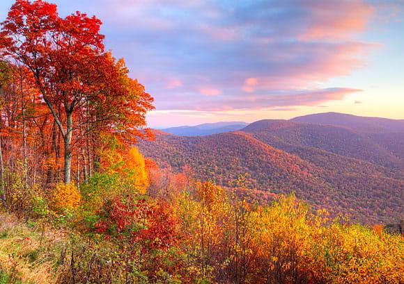 Sunrise in Autumn at Shenandoah National Park