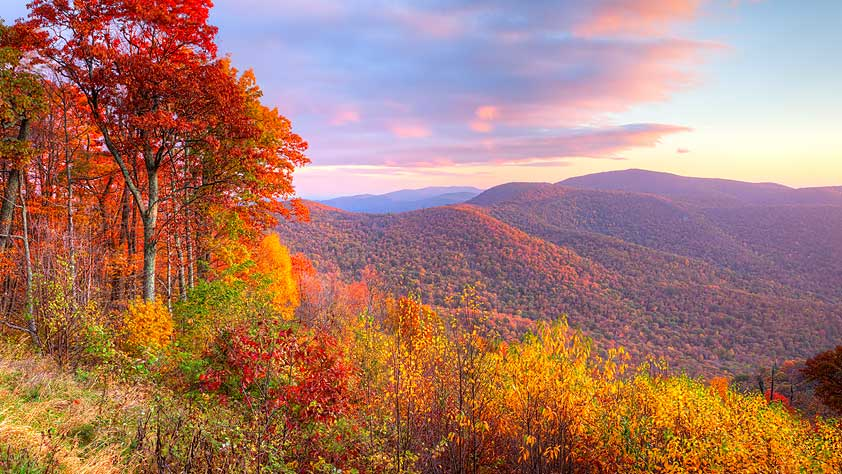 The Best Leaf-Peeping Spots from Coast to Coast - Sunrise in Autumn at Shenandoah National Park