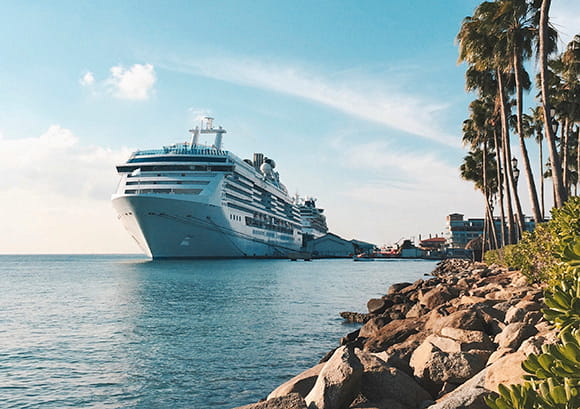Scenic view of cruise boat