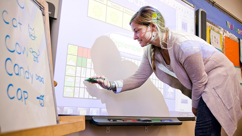 Elementary School Teacher Using Smartboard