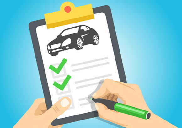 Illustration of Crossing Items off of a Car Checklist