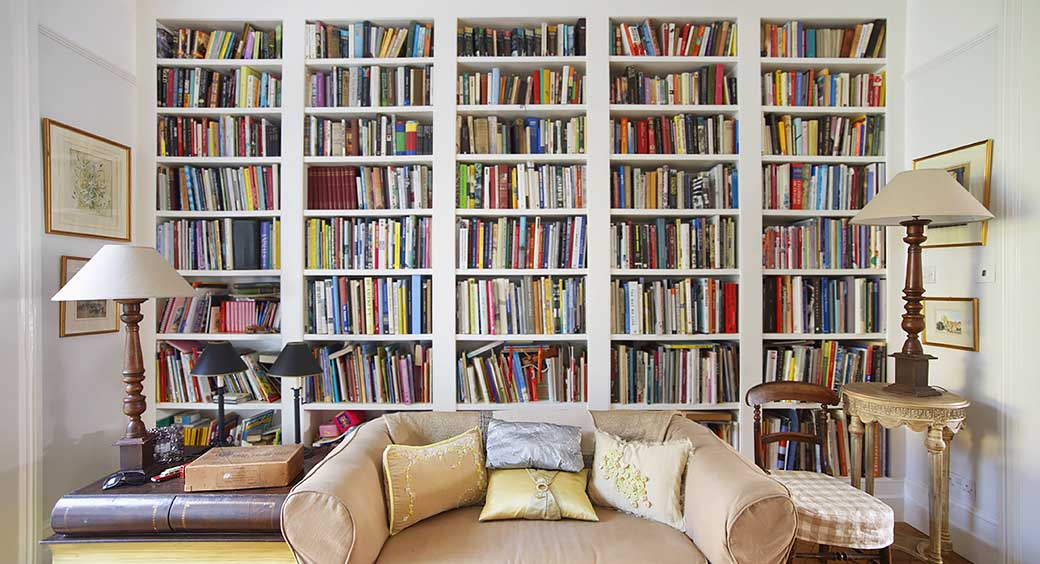 Custom Built-In Bookcases Along an Entire Wall
