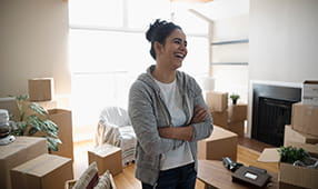 Woman Laughing at Move In Day