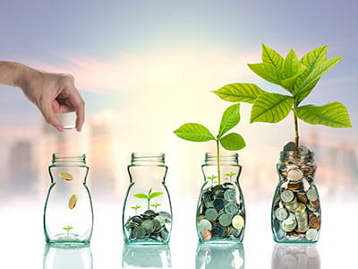 NEA Smart Money Account - hand putting coins in clear bottles to support growing plants at different stages