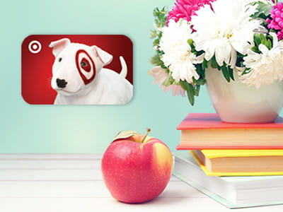 Member Appreciation Giveaway - gift card, apple, books and flowers in background