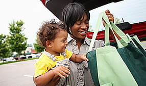 Shopping Discounts - Mother and Child Putting Groceries in the Car
