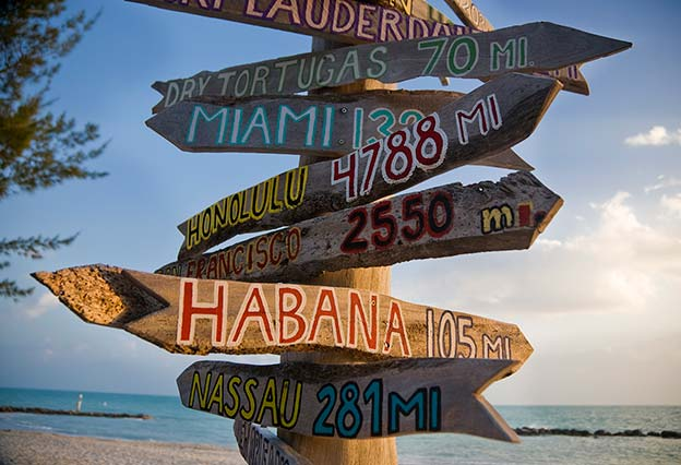Dream Destinations - wooden signage pointing to a number of fun destinations