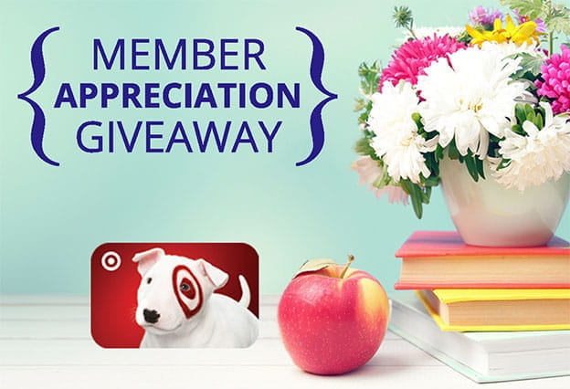 Member Appreciation Giveaway - gift card, apple, books & flowers in background