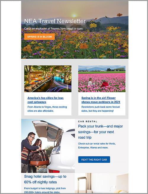 Sample of the NEA Travel newsletter