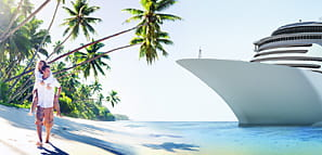 Couple Walking on a Beach Looking at a Cruise Ship