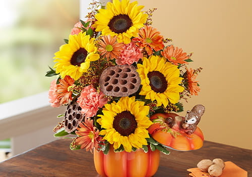 Pumpkin and Posies for Fall