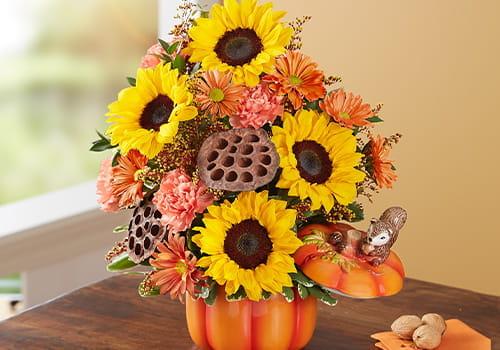 Calabaza y ramilletes para el otoño