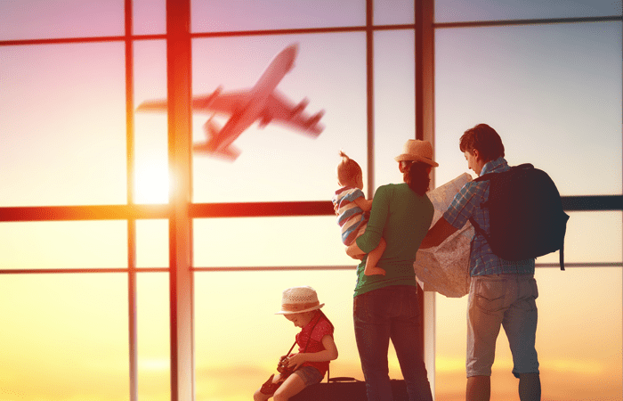 Family waiting for a flight
