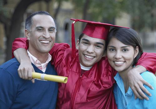 Proud parents with graduating child