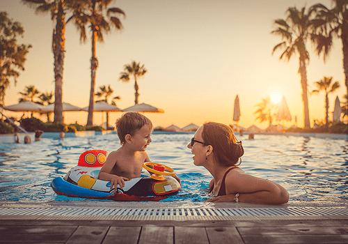 Family at a resort